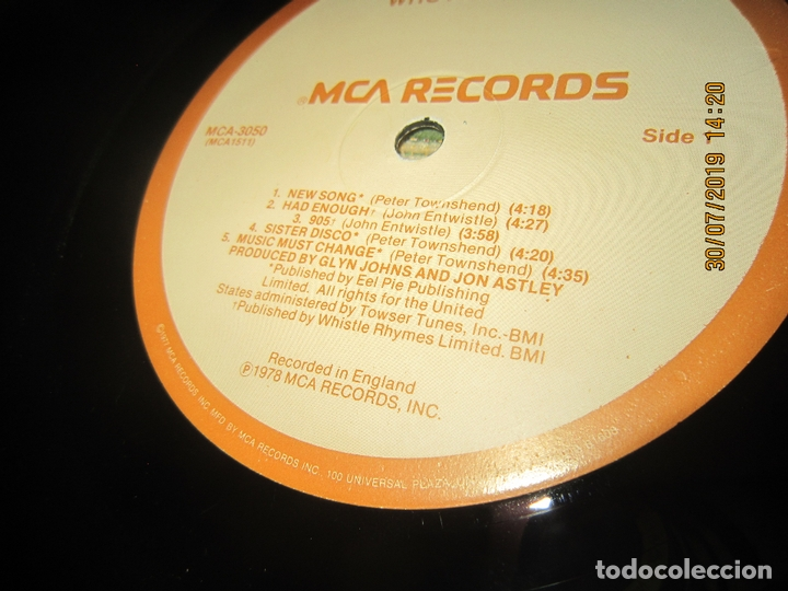 Discos de vinilo: THE WHO - WHO ARE YOU LP - ORIGINAL U.S.A. - MCA RECORDS 1978 CON FUNDA INT. GENERICA DE LA MCA - - Foto 16 - 173011387
