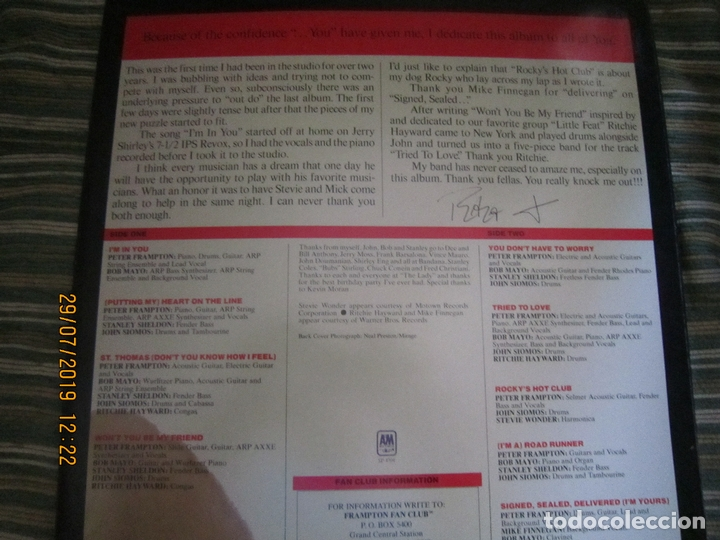 Discos de vinilo: PETER FRAMPTON - I´M IN YOU LP-ORIGINAL U.S.A. - A&M RECORDS1977 - PROMOTIONAL COPY - LABEL BLANCA - Foto 9 - 173023349