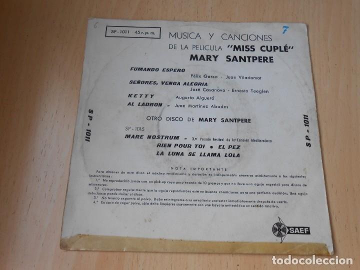 Discos de vinilo: MARY SANTPERE - de la película MISS CUPLE -, EP, FUMANDO ESPERO + 3, AÑO 1959 - Foto 2 - 173023468