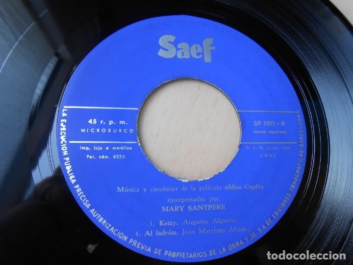 Discos de vinilo: MARY SANTPERE - de la película MISS CUPLE -, EP, FUMANDO ESPERO + 3, AÑO 1959 - Foto 4 - 173023468