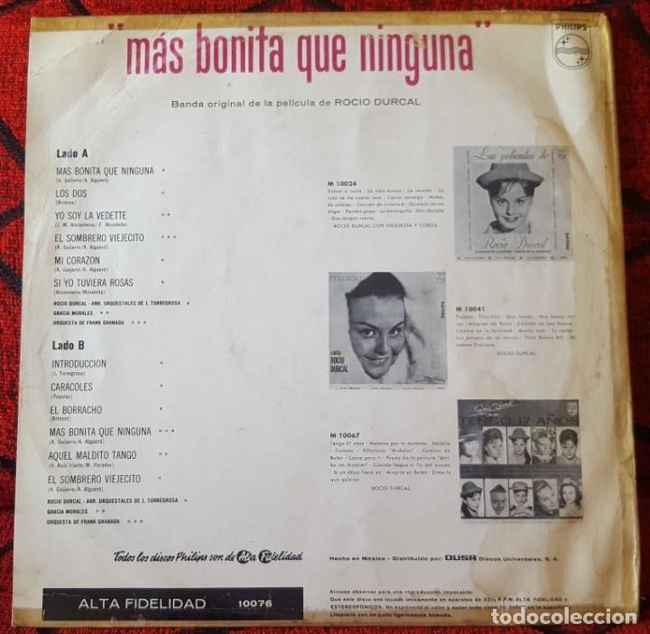 Discos de vinilo: ROCIO DURCAL Mas Bonita Que Nunca VINILO LP BANDA SONORA ORIGINAL EDICON MEXICANA - Foto 2 - 173123194