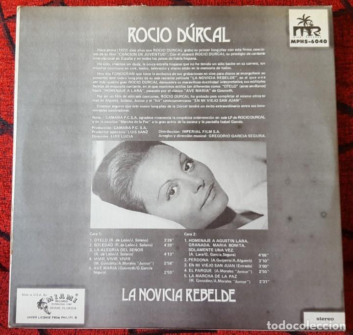 Discos de vinilo: ROCIO DURCAL La Novicia Rebelde VINILO LP ORIGINAL EDICION USA - Foto 2 - 173123437