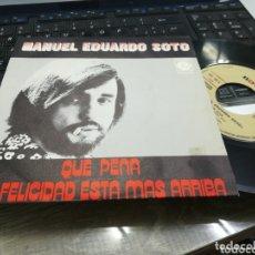 Discos de vinilo: MANUEL EDUARDO SOTO SINGLE PROMOCIONAL QUE PENA 1971. Lote 173157059