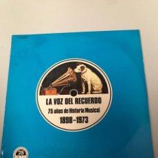 Discos de vinilo: LA VOZ DEL RECUERDO. 75 AÑOS DE HISTORIA MUSICAL. Lote 173249213