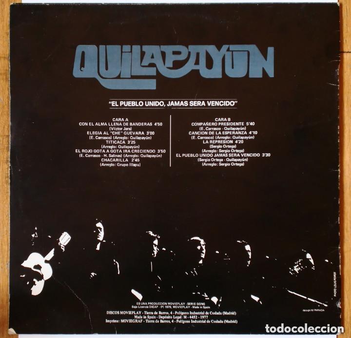 Discos de vinilo: LP - QUILAPAYUN : El pueblo unido jamás será vencido (MoviePlay, 1977) Serie Gong - Foto 2 - 173255549