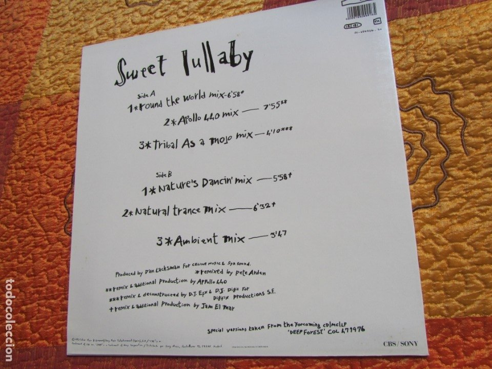 Discos de vinilo: DEEP FOREST- MAXI-SINGLE DE VINILO- TITULO SWEET LULLABY- CON 5 TEMAS- ORIGINAL DEL 93- NUEVO - Foto 2 - 173259499
