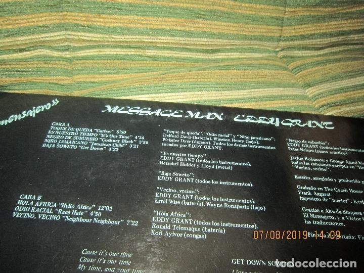 Discos de vinilo: EDDY GRANT - MESSAGE MAN LP - ORIGINAL ESPAÑOL - ICE RECORDS1980 - BUEN ESTADO - - Foto 3 - 173274517