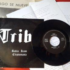 Discos de vinilo: TRIBU - MUY RARO SINGLE VINILO RADIO KAOS / CLEPTOMANÍA. TALAVERA DE LA REINA. HEAVY.. Lote 173274920