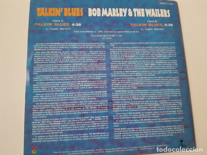 Discos de vinilo: BOB MARLEY & THE WAILERS - TALKIN BLUES - SPAIN PROMO SINGLE 1991- COMO NUEVO. - Foto 2 - 173385804