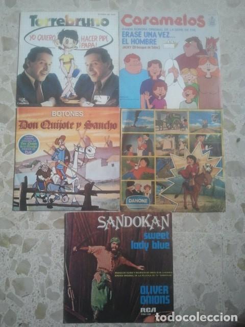 LOTE DE DISCOS - BANDAS SONORAS SERIES Y DIBUJOS ANIMADOS TVE - 5 SINGLES (Música - Discos - Singles Vinilo - Bandas Sonoras y Actores)