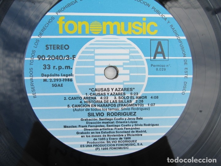 Discos de vinilo: SILVIO RODRIGUEZ. CAUSAS Y AZARES. LP VINILO. FONOMUSIC. 1986. VER FOTOGRAFIAS ADJUNTAS - Foto 11 - 173446568