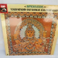Discos de vinilo: IMPROVISATIONS. YEHUDI MENUHIN. RAVI SHANKAR. JEAN-PIERRE RAMPAL. LP VINILO. EMI 1978.. Lote 173463275