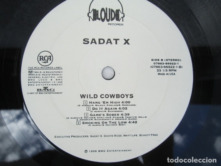 Discos de vinilo: SADAT X. WILD COWBOYS. LP VINILO. LOUD RECORDS. 1996. NO CONTIENE ESTUCHE. VER FOTOGRAFIAS ADJUNTAS - Foto 5 - 173464504