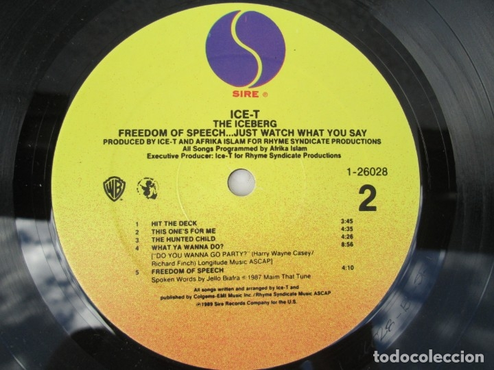 Discos de vinilo: ICE-T. THE ICEBERG. FREEDOM OF SPEECH...JUST WATH WHAT YOU SAY. SIRE RECORDS 1989. VER FOTOGRAFIAS - Foto 6 - 173465377