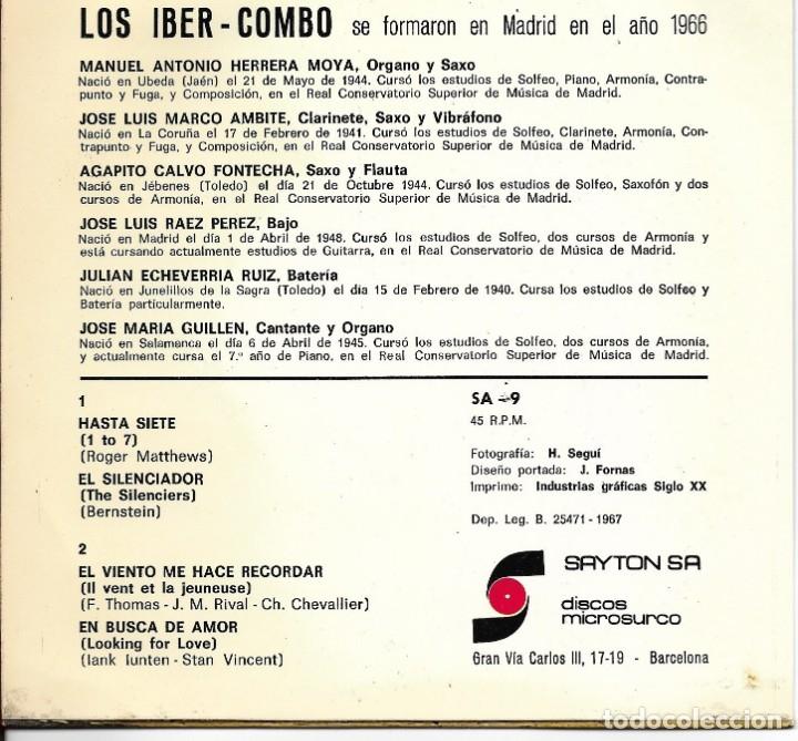 Discos de vinilo: Los Iber-Combo - Hasta Siete / El Silenciador / El Viento Me Hace Recordar / En Busca De Amor - 1967 - Foto 2 - 251722345