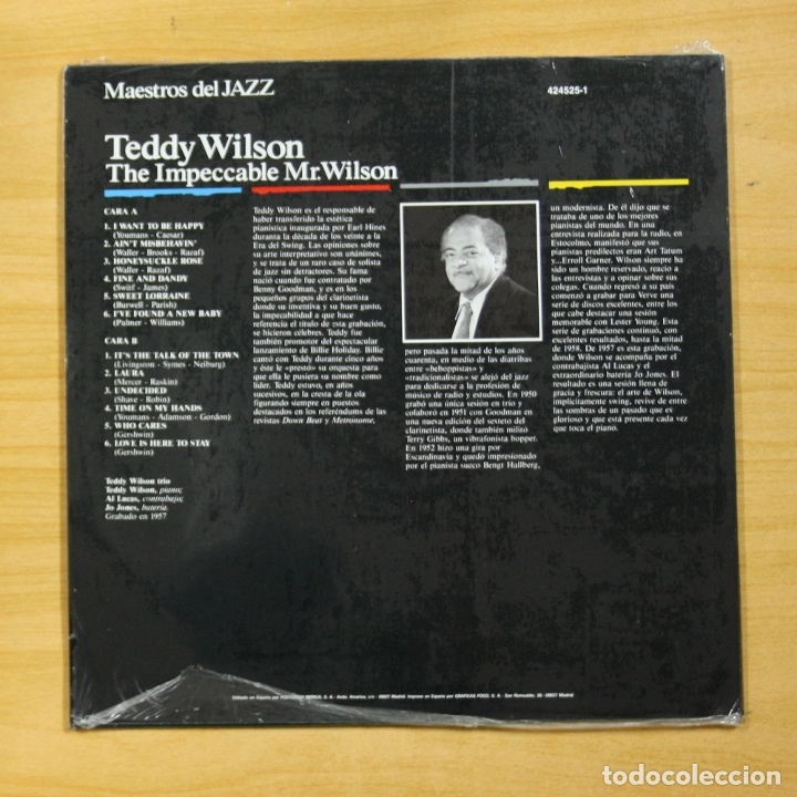 Discos de vinilo: TEDDY WILSON - THE IMPECCABLE MR. WILSON - LP - Foto 2 - 173563467