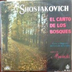 Discos de vinilo: SHOSTAKOVICH - EL CANTO DE LOS BOSQUES OP. 81 - MRAVINSKI - 1960 - LP HISPAVOX - LE CHANT DU MONDE. Lote 173573458