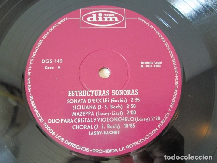 Discos de vinilo: LASRY BASCHET. STRUCTURES SONORES. LP VINILO. DIM RECORDS 1968. VER FOTOGRAFIAS ADJUNTAD - Foto 5 - 173580902