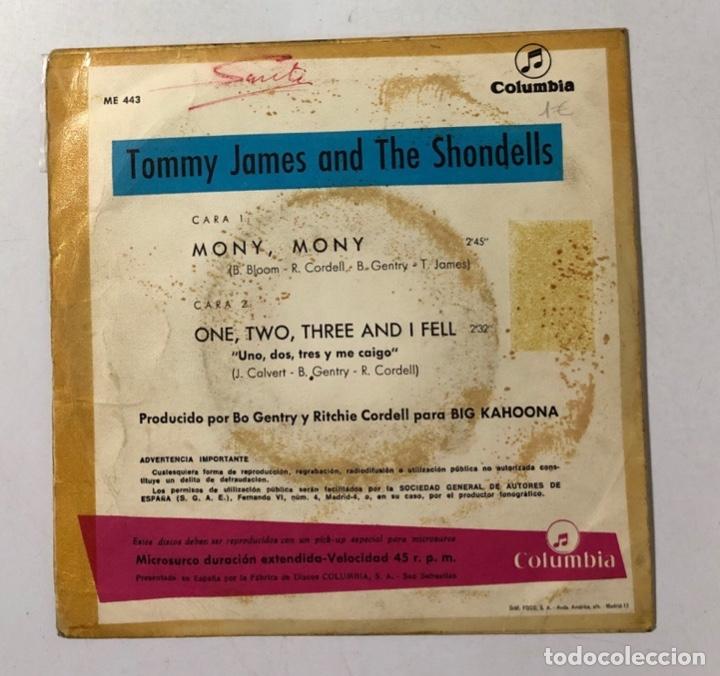 Discos de vinilo: DISCO VINILO. TOMMY JAMES AND THE SHONDELLS. MONY, MONY. COLUMBIA. 1968. EDICION ESPAÑOLA - Foto 2 - 173734124