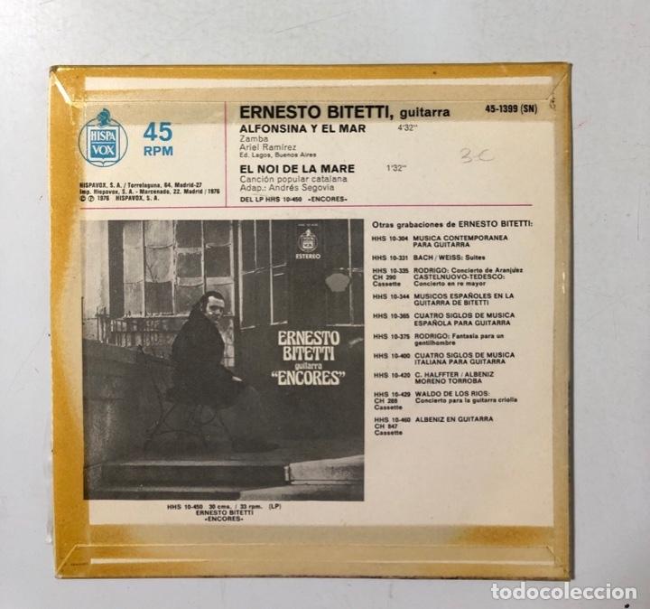 Discos de vinilo: SINGLE. ERNESTO BITETTI. GUITARRA. ALFONSINA Y EL MAR. HISPAVOX. 1976. - Foto 2 - 173736717