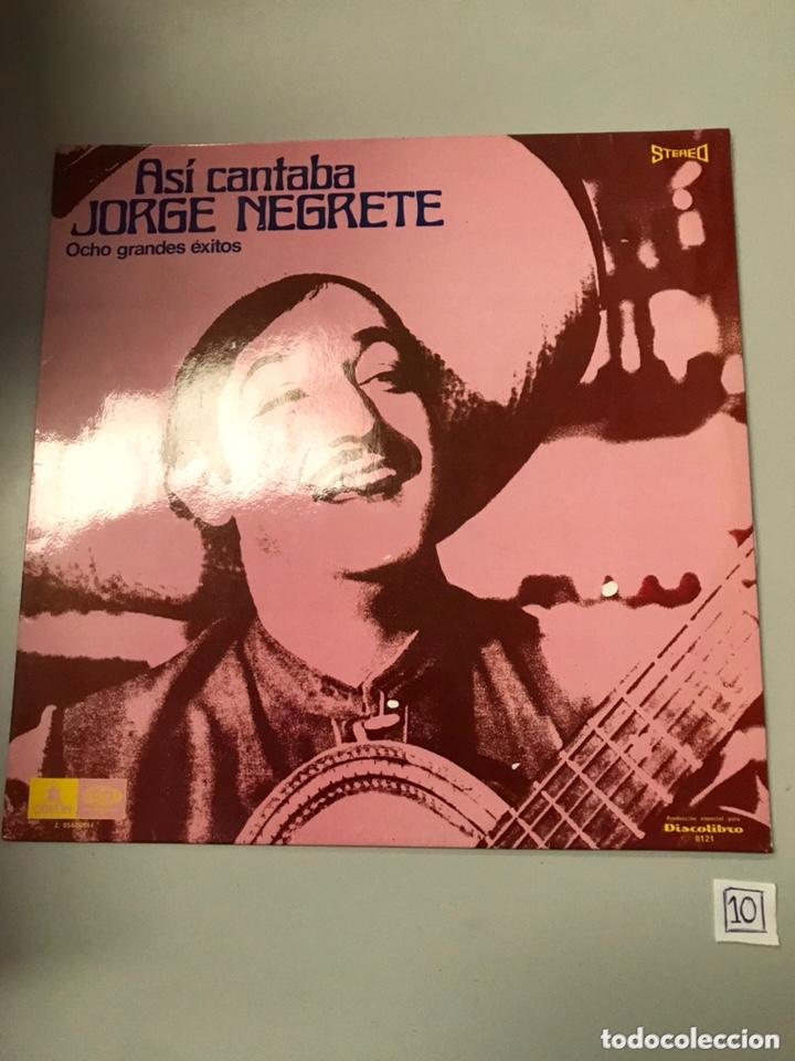 ASÍ CANTABA JORGE NEGRETE OCHO GRANDES ÉXITOS (Música - Discos - LP Vinilo - Cantautores Extranjeros)