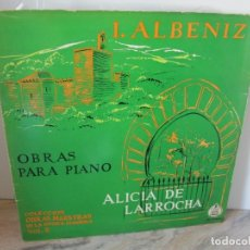 Discos de vinilo: I. ALBENIZ. OBRAS PARA PIANO. ALICIA DE LARROCHA. VOL 8. LP VINILO. 2 DISCOS. HISPAVOX 1959.VER FOTO. Lote 173837194