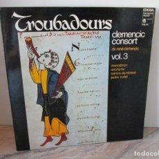 Discos de vinilo: TROUBADOURS. CLEMENCIC CONSORT. VOL 3. LP VINILO. EDIGSA 1980. VER FOTOGRAFIAS ADJUNTAS. Lote 173849629