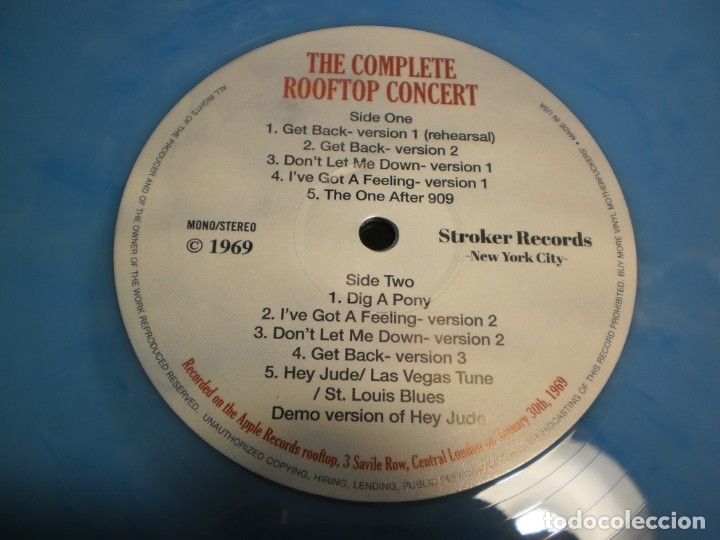 Discos de vinilo: lp azul the beatles. the complete rooftop concert. apple records 1969 usa (seminuevo) - Foto 4 - 173854469