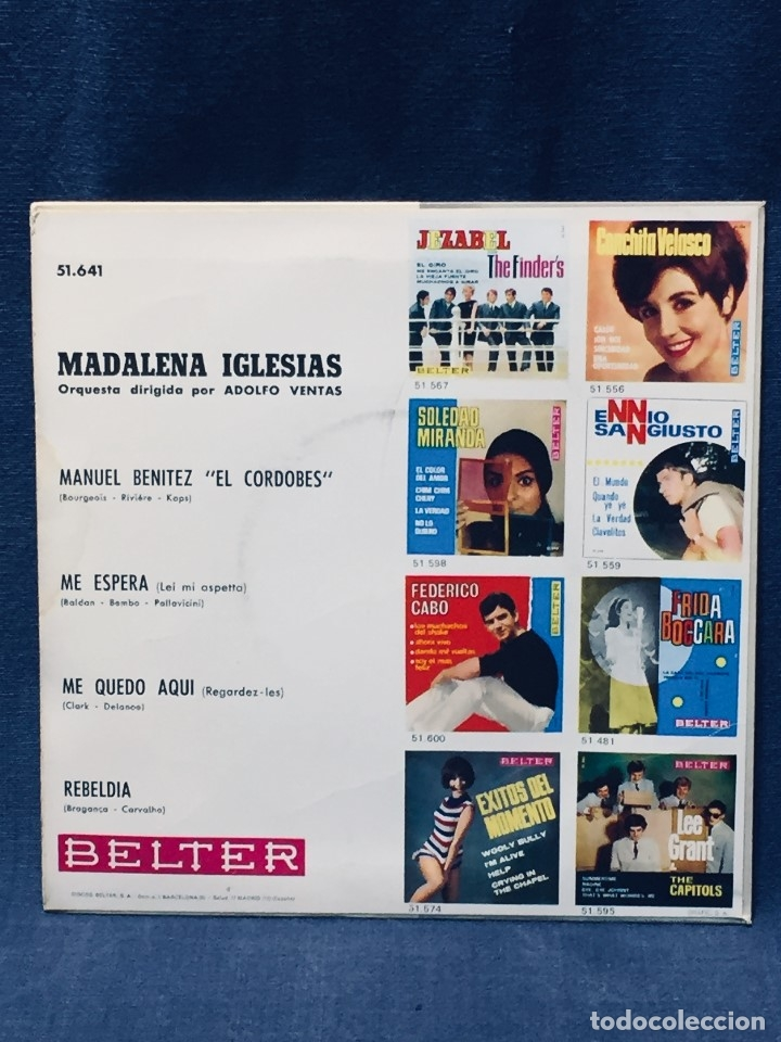 Discos de vinilo: MADALENA IGLESIAS BELTER EL CORDOBES ME ESPERA ME QUEDO AQUI - Foto 2 - 173855075