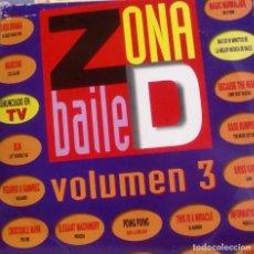 Discos de vinilo: ZONA DE BAILE 3 - MARCONI + DLM + CORO FEAT TALEESA + BASS BUMPERS + KRISS KROSS.. LP DOBLE + INSERT. Lote 173881749