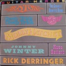 Discos de vinilo: GUITAR HEROES - BOSTON + MOLLY HATCHET + JOHNNY WINTER + RICK DERRINGER + RUSS BALLARD...LP 1981. Lote 173883385