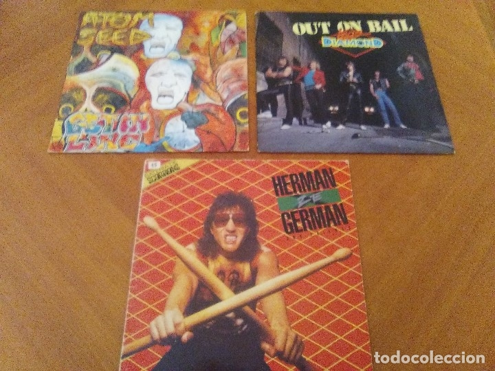 LOTE 3 LPS. HERMAN GERMAN AND FRIENDS(SCORPIONS)./ATOM SEED,GET IN LINE./LEGS DIAMOND.OUT ON BAIL. (Música - Discos - LP Vinilo - Heavy - Metal)