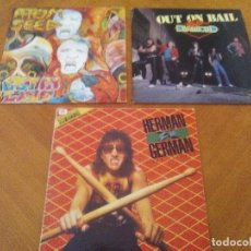 Discos de vinilo: LOTE 3 LPS. HERMAN GERMAN AND FRIENDS(SCORPIONS)./ATOM SEED,GET IN LINE./LEGS DIAMOND.OUT ON BAIL.. Lote 173988365