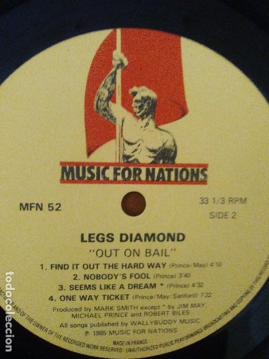 Discos de vinilo: LOTE 3 LPS. HERMAN GERMAN AND FRIENDS(SCORPIONS)./ATOM SEED,GET IN LINE./LEGS DIAMOND.OUT ON BAIL. - Foto 16 - 173988365