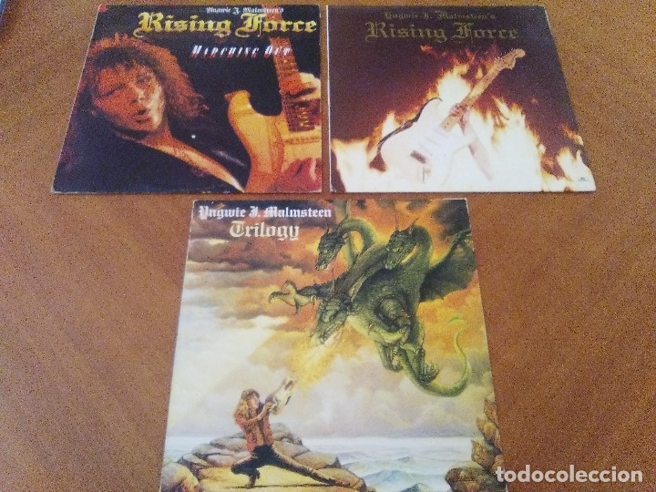 LOTE 3 LPS. YNGWIE J. MALMSTEEN´S. RISING FORCE/TRILOGY/RISING FORCE MARCHING OUT. (Música - Discos - LP Vinilo - Heavy - Metal)