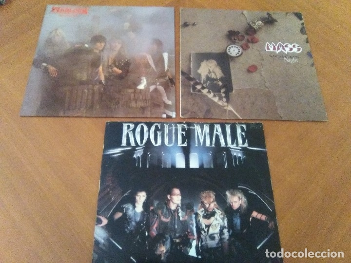 LOTE 3 LPS. WARLOCK.HELLBOUND/ROGUE MALE.ANIMAL MAN/MASS.VOICES IN THE NIGHT. (Música - Discos - LP Vinilo - Heavy - Metal)