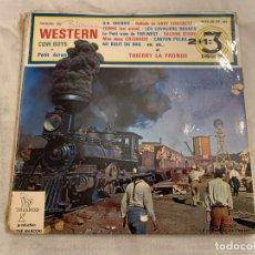 Discos de vinilo: HISTOIRE DU WESTERN COW BOYS ET PETIT ECRAN SELLO: TRIANON – 4019-20-21 ETS FORMATO: VINYL, 7 . Lote 174019822