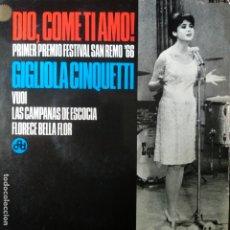 Discos de vinilo: GIGLIOLA CINQUETTI - DIO COME TI AMO! - SAN REMO 66 - EP + 3 CANCIONES +. Lote 174082224