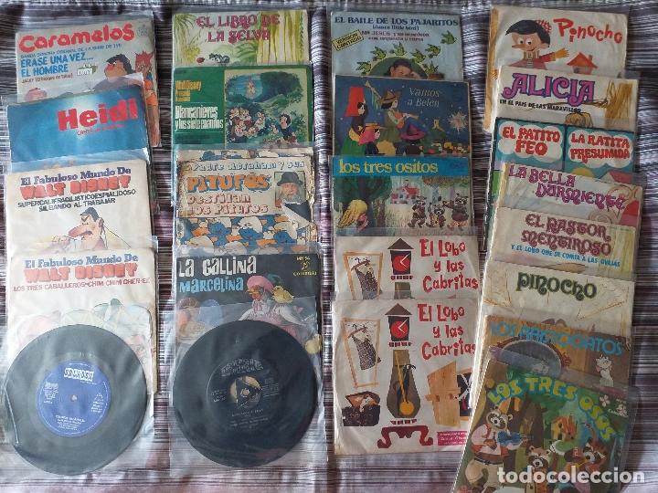 LOTE COLECCIÓN 23 CUENTOS VINILO EP 45 RPM WALT DISNEY PATITO FEO PINOCHO PITUFOS VER FOTOS (Música - Discos de Vinilo - EPs - Música Infantil)