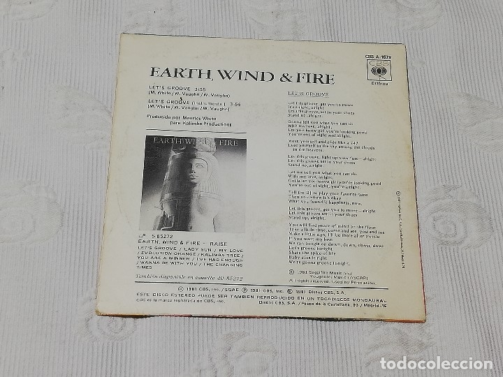 Discos de vinilo: SINGLE: EARTH, WIND & FIRE · let's groove (vamos a vacilar) - Cbs, 1981 - - Foto 2 - 174307474