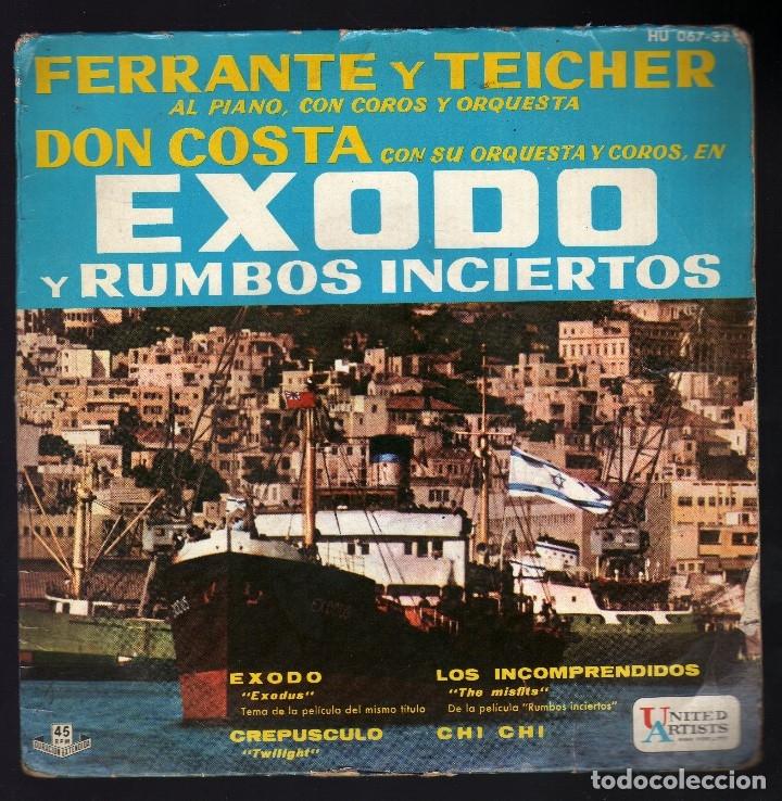 E.P.: TEMAS DE LAS PELÍCULAS ''ÉXODO Y RUMBOS INCIERTOS'' · FERRANTE Y TEICHER AL PIANO · (Música - Discos de Vinilo - EPs - Bandas Sonoras y Actores)