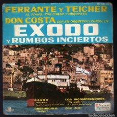 Discos de vinilo: E.P.: TEMAS DE LAS PELÍCULAS ''ÉXODO Y RUMBOS INCIERTOS'' · FERRANTE Y TEICHER AL PIANO ·. Lote 174312320