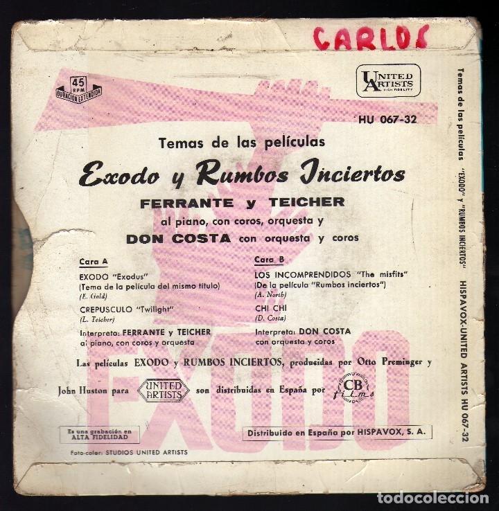 Discos de vinilo: E.P.: TEMAS DE LAS PELÍCULAS ''ÉXODO Y RUMBOS INCIERTOS'' · ferrante y teicher al piano · - Foto 2 - 174312320