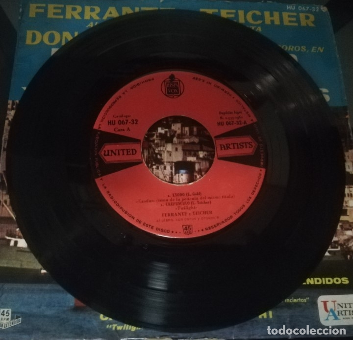 Discos de vinilo: E.P.: TEMAS DE LAS PELÍCULAS ÉXODO Y RUMBOS INCIERTOS · ferrante y teicher al piano · - Foto 4 - 174312320