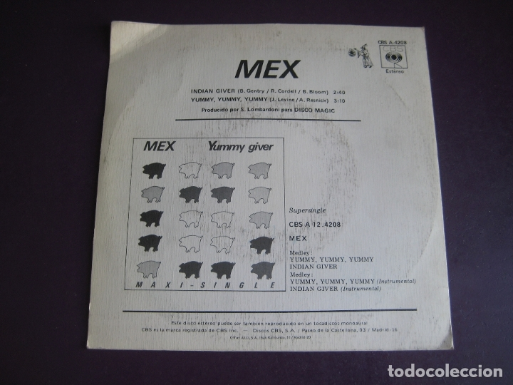 Discos de vinilo: Mex Sg CBS 1984 Yummy Giver +1 ITALODISCO - ELECTRONICA 80'S - DISCO POP - Foto 2 - 174321682