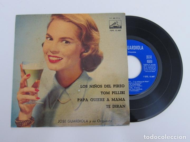 45 RPM - JOSE GUARDIOLA Y SU ORQUESTA - LOS NIÑOS DEL PIREO + TOM PILLIBI + TE DIRAN + PAPA QUIERE A (Música - Discos - Singles Vinilo - Otros Festivales de la Canción)