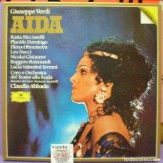 Discos de vinilo: VERDI - AIDA - ABBADO / DOMINGO - 3LPS. Lote 174459163