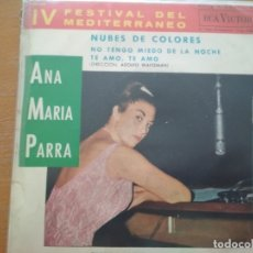 Discos de vinilo: ANA MARIA PARRA NUEBES DE COLORES EP FESTIVAL DEL MEDITERRANEO 1963. Lote 174498237