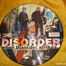 Discos de vinilo: DISORDER : WHEN DISORDER STRIKES / FUTUREBOI : ATOMIZER. DON Q, 1997. PICTURE DISC. (#). Lote 174632002