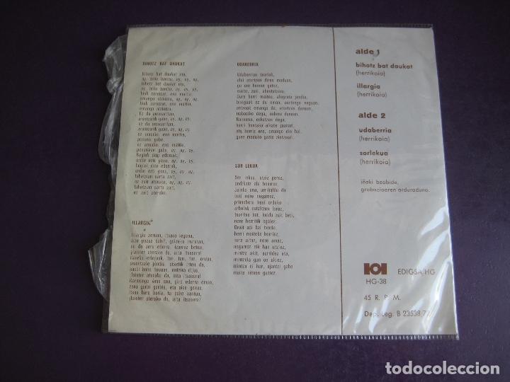 Discos de vinilo: DRINDOTS EP EDIGSA HG 1972 - KANTU ZAHARRAK - BIHOTZ BAT DAUKAT +3 FOLK 70S EUSKADI EUSKERA - Foto 2 - 174900749